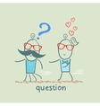 man with a question mark running away from a girl vector image vector image
