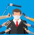 man with face mask giving speech at conference vector image vector image