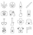 Marijuana icons set outline style vector image vector image