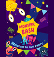 monster bash party card invitation poster vector image vector image