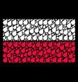 polish flag mosaic of plant leaf icons vector image