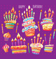 set birthday cake and candles vector image vector image