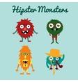 set freaky cute retro hipster alien vector image