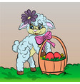 sheep cartoon with easter egg vector image
