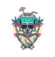 skull summer beach vector image vector image