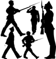 Soldiers marching and sentry guard silhouettes vector image vector image