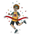 teenager runner cross the finish line cartoon vector image