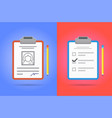 test or exam icons set with clipboard and pencil vector image