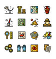 thin line archeology icons set vector image