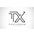 tx t x letter logo design in black colors vector image vector image