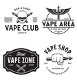 vape shop labels emblems badges set vaping vector image vector image