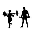 weightlifter silhouettes vector image vector image