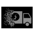 white disintegrating dotted halftone power supply vector image