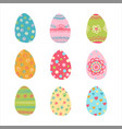 hand drawn easter eggs set vector image