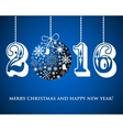 Christmas Snowflakes ball and numbers 2016 on blue vector image