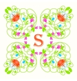 Floral monogram with letter s on white Green vector image