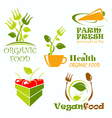 icons and symbols for organic food vector image