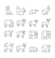 Animal icons thin line style flat design vector image