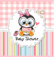 baby shower greeting card with cute penguin vector image