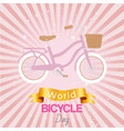 bicycle world day poster at bright backgrond vector image vector image