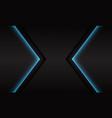blue neon light arrow direction on dark grey vector image vector image