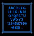 blue neon linear alphabet vector image
