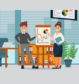 business people explaining information graphics on vector image