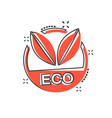 cartoon eco label badge icon in comic style vector image vector image