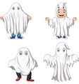 cartoon kid with ghost costume collection vector image vector image