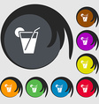 cocktail icon sign Symbols on eight colored vector image