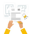 flat contract signing vector image