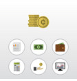 flat icon finance set of billfold cash calculate vector image vector image