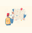guy look in navigation map vector image vector image