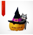 Haloween greeting card cartoon design vector image vector image