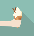 Hand with ice cream cone vector image