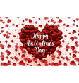 happy valentine s day lettering card hearts light vector image vector image