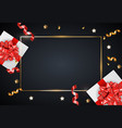 holiday background with gift box and glossy ribbon vector image vector image