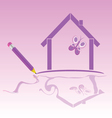 house icon with bitterfly vector image vector image
