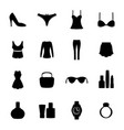 icons of women clothes and accessories vector image