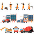 industrial cement processing plant with man vector image vector image