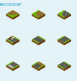 isometric road set of way turn without strip and vector image vector image