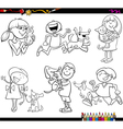 kids and pets set coloring page vector image vector image