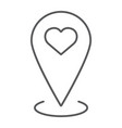 love location thin line icon love and gps map vector image vector image