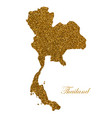 map thailand silhouette with golden glitter vector image