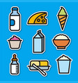 milk products stickers vector image vector image