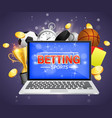 online sports betting poster banner design vector image