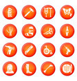 orthopedist bone tools icons set red vector image vector image