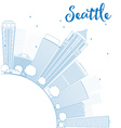 Outline Seattle City Skyline vector image vector image
