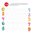 pass finger path correct order number kid game vector image