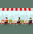 people have lunch in restaurant vector image